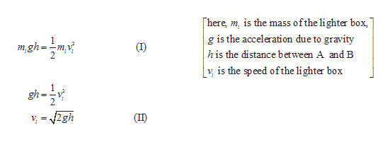 ofthe lighter box here, m, is the mass g is the acceleration due to gravity his the distance between A and B v is the speed ofthe li ghter box m,gh (IID