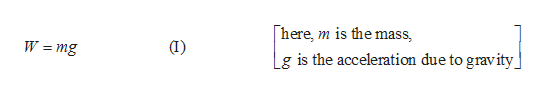 here, m is the mass (I) W =mg - Lg is the acceleration due to gravity
