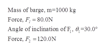 Mass of barge, m=1000 kg Force, F 80.0N Angle of inclination of F, 0-30.0° Force, F120.0N