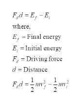 Fd E-E where E,=Final energy E, = Initial energy F Driving force d Distance 1 1 Fd=- 2 2