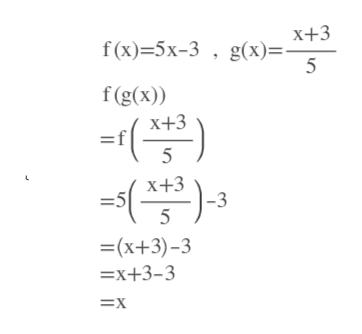 х+3 f (x)-5х-3 , g(х)%. f(g(x)) х+3 5 х+3 -3 -5 5 =(x+3)-3 —х+3-3 3Dх