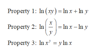 Property 1: In (xy) = Inxny x Inx - n y Property 2: In Property 3: In r' = y lnx