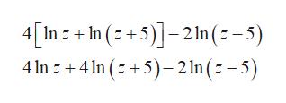4In In52 ln(-5) 4n +4n(5-2 ln (z -5)