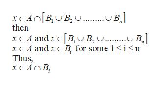 xE ABB.. B then xE A andxBU B.. B xE A and x B for some 1isn Thus ХEAОВ,