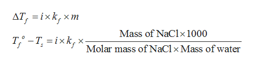 дТ, 3ixk, X m Mass of NaClx1000 T-Tixk, X f Molar mass of NaCl x Mass of water
