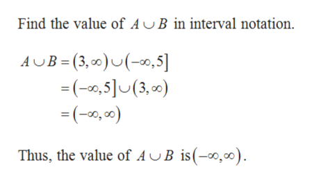 Find the value of AUB in interval notation. AB (3,0)(0,5] (,5(3,) (0,0) Thus, the value of AJB is(-0,)