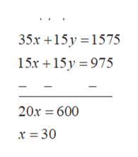 35х +15у%3D1575 15х +15у %3D975 20х 3 600 х %3 30