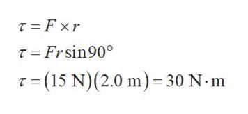 T Fxr T Frsin90 T (15 N) (2.0 m) = 30 N m