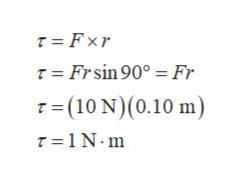 T Fxr T Frsin 90° Fr T(10 N)(0.10 m) T 1N.m
