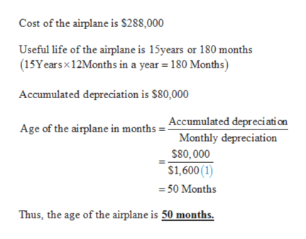 Cost of the airplane is S288,000 Useful life of the airplane is 15years or 180 months (15Years x12Months in a year 180 Months) Accumulated depreciation is $80,000 Age of the airplane in months = Accumulated depreciati on Monthly depreciation $80,000 $1,600 (1) =50 Months Thus, the age of the airplane is 50 months