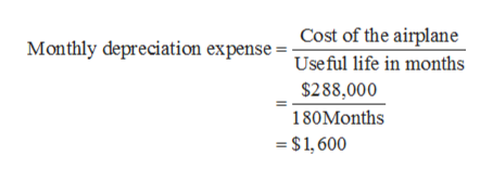 Cost of the airplane Monthly depreciation expense = Useful life in months $288,000 180Months $1,600