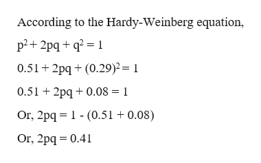 According to the Hardy-Weinberg equation p2 2pqq2 1 0.51 2pq(0.29)2= 1 0.51 2pq0.08 1 Or, 2pq (0.51 + 0.08) Or, 2pq 0.41