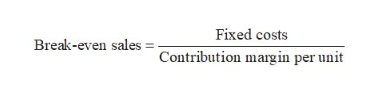 Fixed costs Break-even salesContribution margin per unit