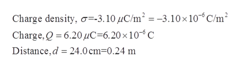Charge density, o=-3.10UC/m2 = -3.10x10-C/m2 Charge,Q 6.20HC 6.20 x 10- C Distance,d 24.0 cm-0.24 m