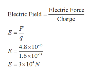 Electric Field=Electric Force Charge F E = 4.8 x1015 E = 1.6x101 E 3x10 N