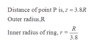Distance of point P is, z 3.8R Outer radius,R R Inner radius of ring, r = 3.8