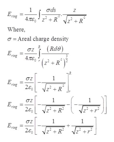 σds Z 1 4Te,zR z+ R° ing Where a Areal charge density (Rde) σζ Ering4TE 3 R 1 σζ R 1 1 σ Fing 26 zR2 1 1 σ Ering 26 zR 2 +1