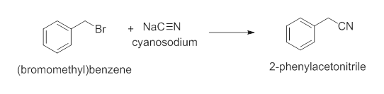 CN NaCEN Br cyanosodium 2-phenylacetonitrile (bromomethyl)benzene