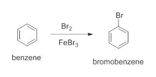 Br Br2 FeBr3 benzene bromobenzene