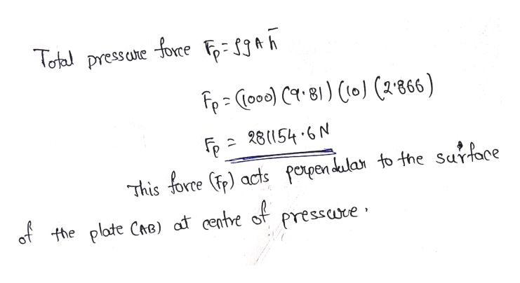 Toal pressae force - Sh F Cooe) C81 o (2866) 28(54.6 N This fore () acts porpendula to the Surface the plate Cre) at centre f pressuve