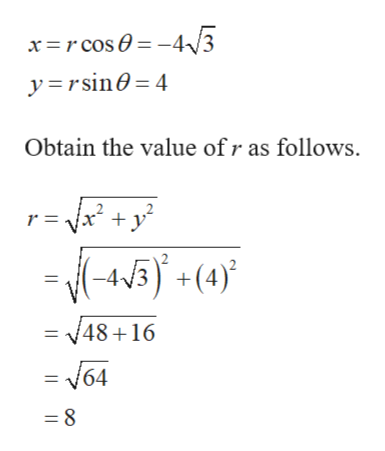 yrsin 4 Obtain the value ofr as follows. 2 r =x y (-45) +(4)} 2 = 48+16 = N64 8
