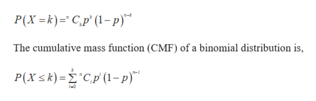 """P(X =k)C,p' (1-p) The cumulative mass function (CMF) of a binomial distribution is, P(Xk)=Cp (1-p)"""""""