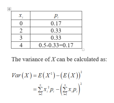 0 0.17 0.33 2 3 0.33 4 0.5-0.33=0.17 The variance of X can be calculated as: Var (x) E(x)-E (x)) -Σxp-Σxp,
