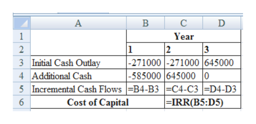 B D 1 Year 2 1 3 -271000-271000 |645000 -585000 645000 |0 5Incremental Cash Flows|=B4-B3 C4-C3D4-D3 |=IRR(B5:D5) Initial Cash Outlay 3 4 Additional Cash Cost of Capital 6