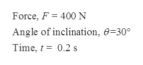 Force, F 400 N Angle of inclination, 0=30° Time, 0.2 s