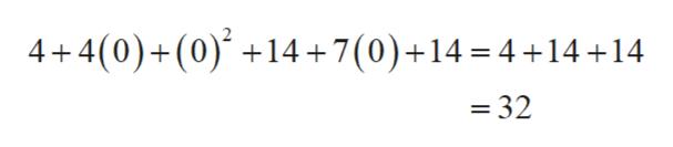 4+4(0)+(0)4+7(0)+14 4+14+14 - 32