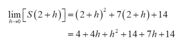 lim(2+h)(2+) +7(2+h)+14 h-0 =4 4h h14+7h+14