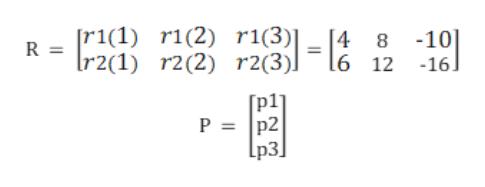 [r1(1) r1(2) r1(3)| 8 -10 4 R = Ir2(1) r2(2) r2(3)] 16 12 -16] P = p2 [p3]|