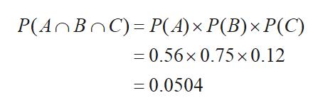 Р(АnBоС)3D P(A)х P(B)xP(C) 3D 0.56х 0.75х0.12 =0.0504