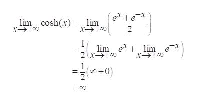 (ex+ex 2 lim cosh(x) lim x 1 lim e lim e 1 (+0
