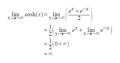 ex+e- 2 lim coshx)lim lim ex+ lim e (+0)