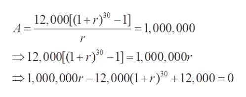 12,000[1r)--1,000,000 A = 12,000[1r0 -1]= 1,000,000 1,000, 000r 12,000(10 +12,000 0
