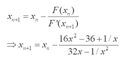 F(x,) F(x п+1 71 16х? — 36 +1/х п+1 72 32х —1/x2