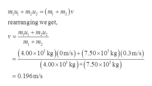 ти + т,и, 3D (т, + т,)v rearranging we get ти, + ти, у 3D т, + т, (4.00х10' kg)(Om/s)+ (7.50x10* k?) (0.3m/s) (4.00х10' ke)+(7.50 x10'kg) =0.196m/s