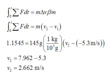 ΣFat -mΔνβ ΣFa=m (% -y) 0 1 kg 1.1545 14510'g2-(-5.3m/s)) 2 7.962 -5.3 ν,-2.662 m/s