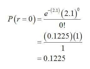 12.1) (2.1) P(r 0) 0! (0.1225) (1) 1 = 0.1225