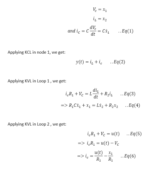 Ve = x1 dVeCi dt ..Eq(1) and ic C Applying KCL in node 1, we get: ..Eq(2) y(t) Applying KVL in Loop 1, we get: di ..Eq(3) + R2i dt iRVL- =>R1C1xL*z +R2x2 ..Eq(4) Applying KVL in Loop 2, we get: .Eq(5) iRiVc ut) => iR1 = u(t) - Vc u(t) X1 ..Eq(6)