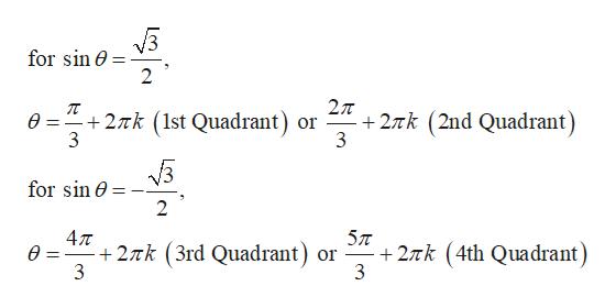 for sin e 2 2T 2Tk (2nd Quadrant) 3 +2Tk (1st Quadrant) or 3 for sin 2 47T +2Tk (3rd Quadrant) 27Tk (4th Quadrant) or 3 3