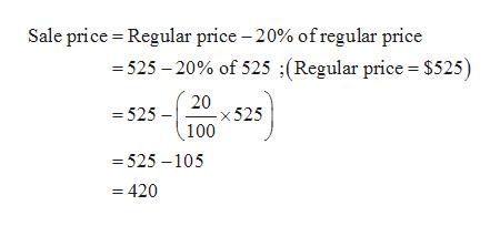 Sale price Regular price -20% of regular price -525 20% of 525 ;(Regular price = $525) 52520x 525 (100 525 -105 =420