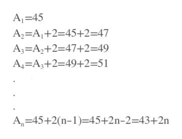 A 45 A2=A1+2=45+2=47 A3 A2+2=47+2=49 A4=A3+2=49+2=51 A 45+2(n-1=45+2n-2=43+2n