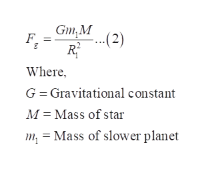 Gm,M ..(2) R Where G Gravitational constant M Mass of star m = Mass of slower planet