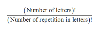 (Number of letters) (Number of repetition in letters)!