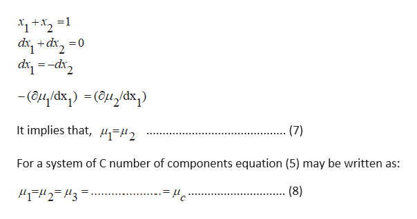 о-р+ р Typ-- Чp -(аи дӑх, ) - (өм дӑк) It implies that, 2 (7) For a system of C number of components equation (5) may be written as: (8)