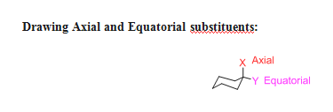 Drawing Axial and Equatorial substituents: x Axial YEquatorial