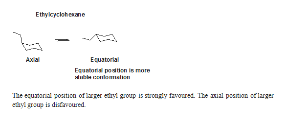 EthyIcyclohexane Equatorial Axial Equatorial position is more stable confomation The equatorial position oflarger ethyl group is strongly favoured. The axial position of larger ethyl group is disfavoured.