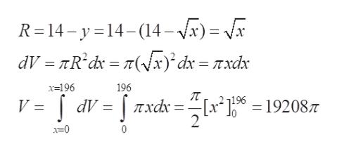 "R 14-y14-(14-x)= x dV =D πR'dv = r(Vx)'dx = rxdr 196 x-196 V = dV = | Txdr = ""[x2]96 - 192087 2 x=0"